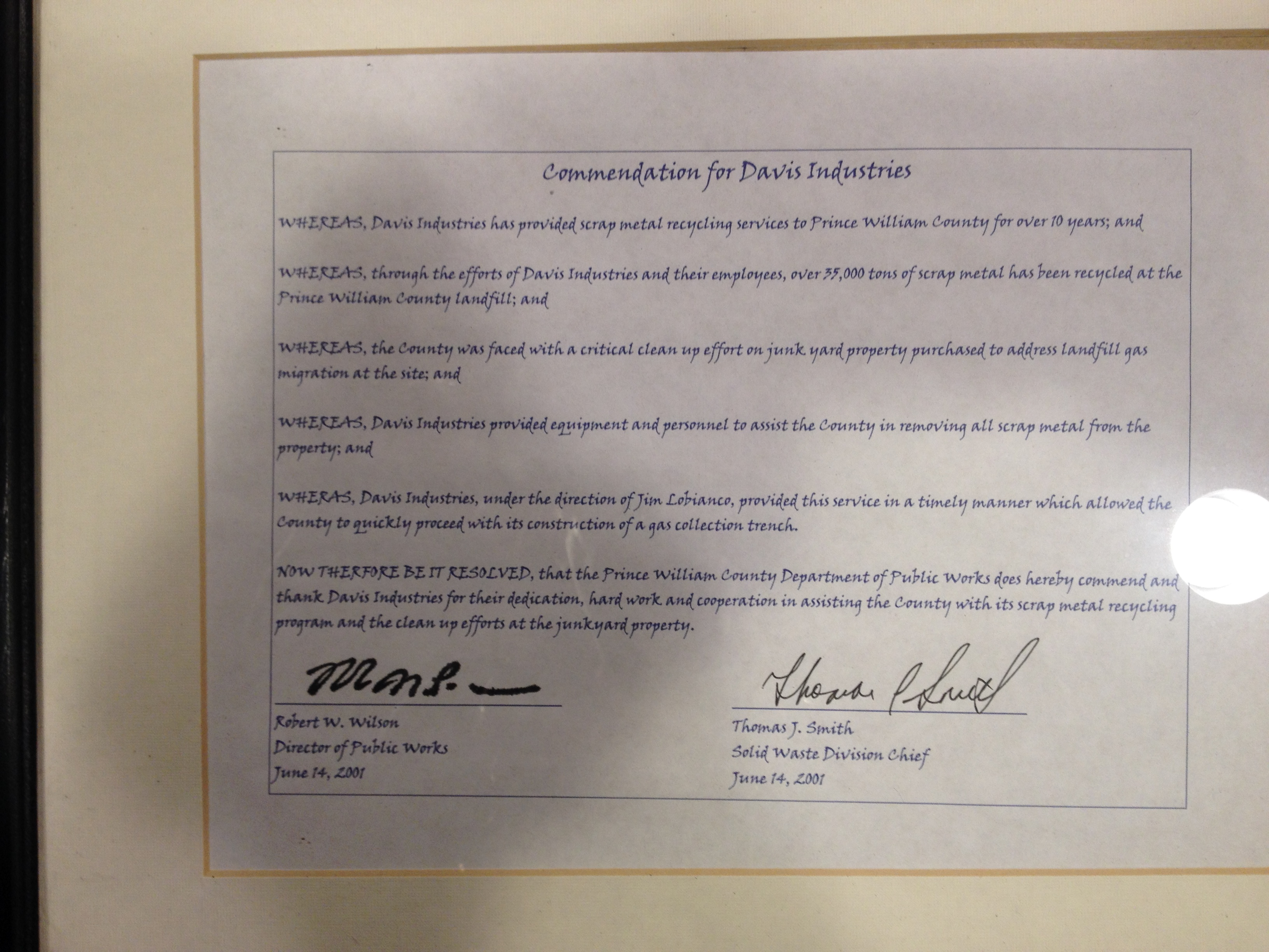 Prince William County Commendation
